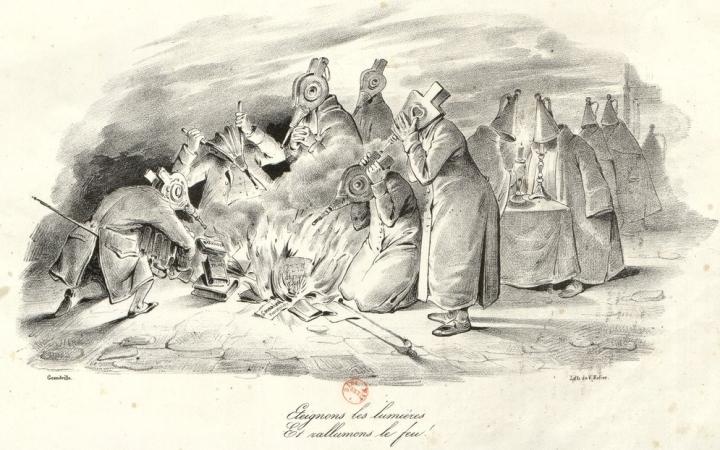 eteignons_les_lumières_et_rallumons_le_feu_des ultras et des moines, portant un éteignoir ou un soufflet en guise de têtegrandvillebnf